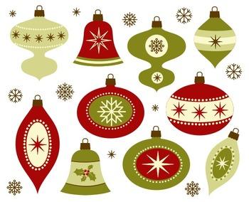 Retro Christmas Decoration Clip Art, New Year Tree Decoration, Xmas
