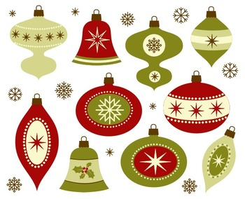 Retro Christmas Decoration Clip Art, New Year Tree Decoration, Xmas