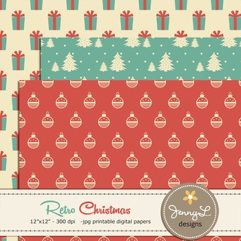 Retro Christmas Digital Paper, Holiday papers