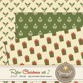 Retro Christmas Digital Paper set 2, Holiday papers