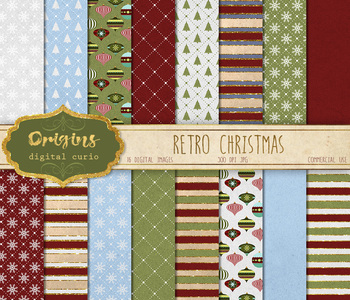 Retro Christmas Digital Paper, vintage christmas patterns and textures