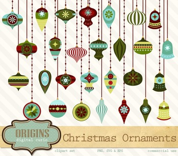 Retro Christmas Ornaments Clipart