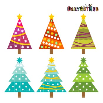 Retro Christmas Trees Art Clip Art - Great for Art Class Projects!