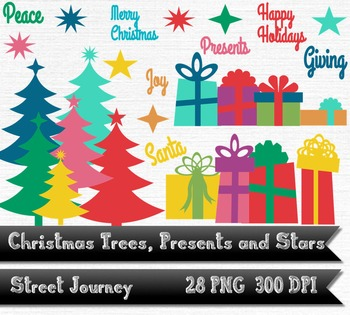 Retro Christmas Trees Presents and Stars Clip ArtPNG w/ transparent background