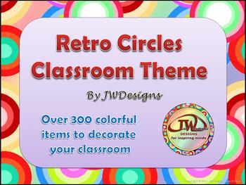 Classroom Theme - Retro Circles - Rainbow Colored