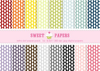 Retro Dot Rainbow Digital Paper Pack - by Sweet Papers