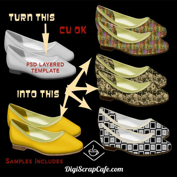 Retro Flat Shoes Transparent PNGS PSD Template