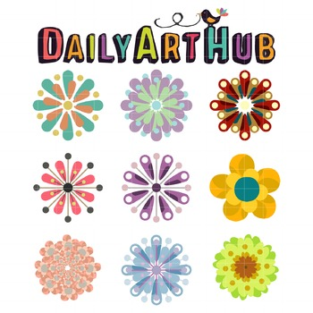 Retro Flowers Clip Art - Great for Art Class Projects!