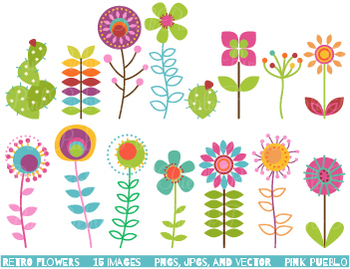 Retro Flowers Clipart