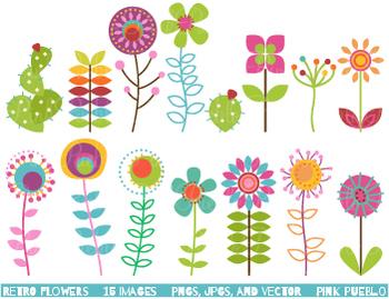 Retro Flowers Clipart