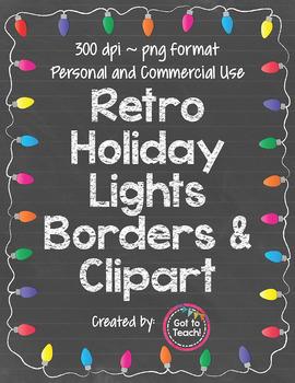 Retro Holiday Lights Borders & Clipart