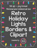 Retro Holiday Lights Borders & Clipart
