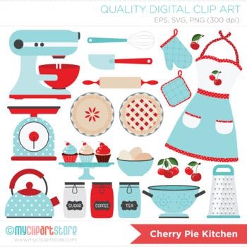 Retro Kitchen Utensils Clipart, Cherry Pie, SVG