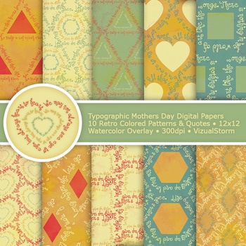 Mothers Day Digital Paper, 10 Printable Typographic Patterns with Quotes
