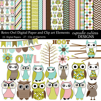Retro Owl Digital Clip Art Elements and Paper Collection