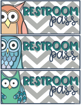 {FREEBIE} Retro Owl & Gray Chevron Classroom Decor Set SAMPLER