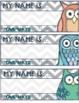 {FREEBIE} Retro Owl & Gray Chevron Classroom Decor Set SAMPLER