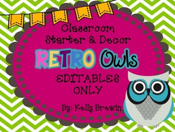 Retro Owls EDITABLES Only