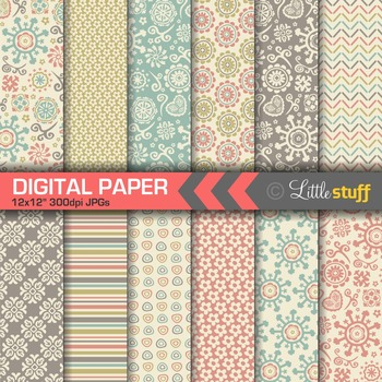 Retro Patterns Digital Paper, Doodles Digital Backgrounds