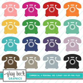 Retro Phone- Telephone Clip Art Pack
