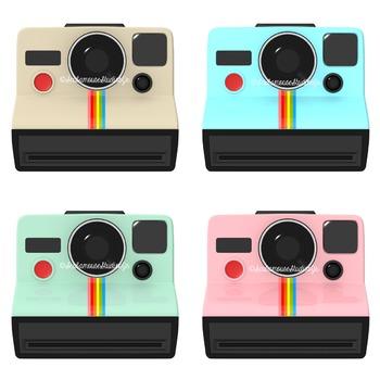 Retro Polaroid Camera Clip Art, Commercial Use Digital Graphics