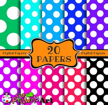Seamless Retro Polka Dot Digital Paper Background Clip Art