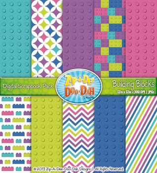 Retro Rainbow Building Blocks Digital Scrapbook Pack (10 Pages)