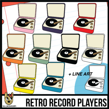 Retro Record Player Clip Art