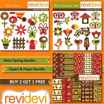 Retro Spring Garden Clip art (3 packs)