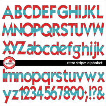 Retro Stripes Alphabet Letters and Numbers Clipart by Poppydreamz