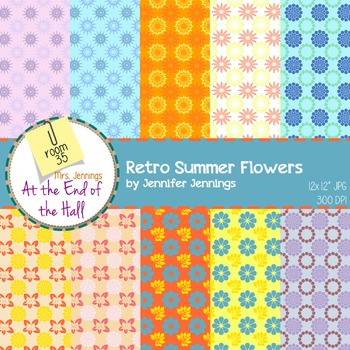 Retro Summer Flower Backgrounds - Digital Paper