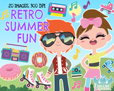 Retro Summer Fun Clipart, Instant Download Vector Art, Commercial Use Clip Art