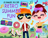 Retro Summer Fun Watercolor Clipart, Instant Download Vector Art, Commercial Use