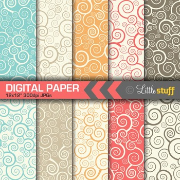 Retro Swirls Digital Paper, Swirlie Digital Backgrounds