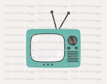 Retro TV Clipart; Television, Household, Vintage
