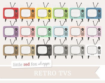Retro TV Clipart; Television