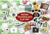 Retro Technology Clip Art [colorful + black & white]