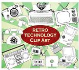 Retro Technology Clip Art (Black & White)