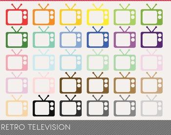 Retro Television Digital Clipart, Retro Television Graphics