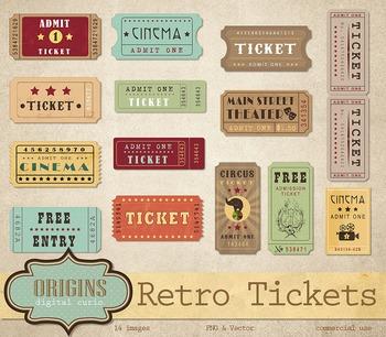 Retro Tickets Vector Clipart