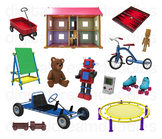 Retro Toy Clipart - Vintage Recreational Toys Digital PNG Graphics