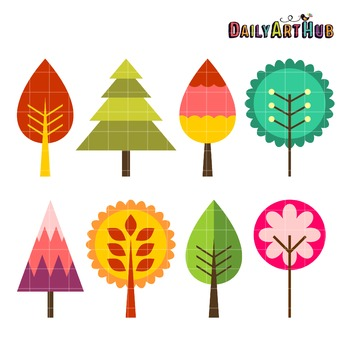 Retro Trees Art Clip Art - Great for Art Class Projects!