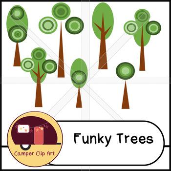 Retro Trees Clip Art {Commercial Use OK!}