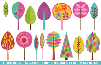 Retro Trees Clipart