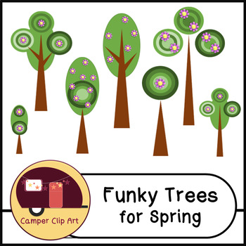 Retro Trees for Spring Clip Art {Commercial Use OK!} spring blossoms