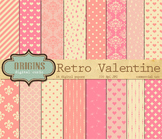 Retro Valentine Hearts Love Digital Scrapbooking Paper