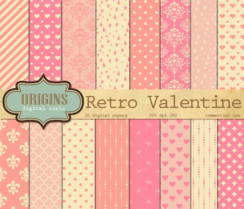 Retro Valentine Hearts Love Digital Scrapbooking Paper