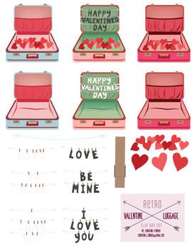 Retro Valentine Luggage Clip Art Set