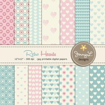 Retro Valentine's Day Digital Papers