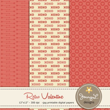 Retro Valentine's Day Digital Papers and Cliparts